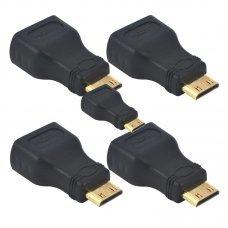 Adaptador HDMI Fêmea x Mini HDMI Macho com 5 UN