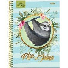 Caderno Universitário Capa Dura 1x1 96 Folhas Tropical Rise Foroni