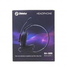Headphone com Microfone SH-S66 Plug P3 Preto Shinka