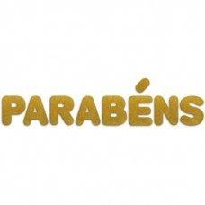 Aplique em EVA Letreiro Parabéns 12cm Glitter Ouro Make+