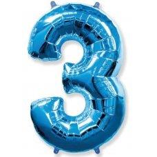 Balão Metalizado Azul Número 3 40' 100cm 8447 Make+