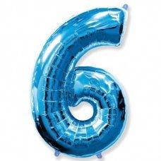 Balão Metalizado Azul Número 6 40' 100cm 8450 Make+