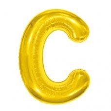 Balão Metalizado Dourado Letra C 16' 40cm 8002 Make+
