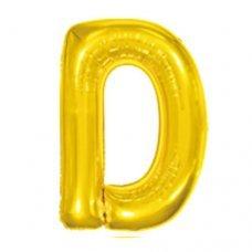 Balão Metalizado Dourado Letra D 16' 40cm 8003 Make+