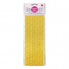 Canudo de Papel Amarelo e Branco Bolinhas 6mmx20cm 4346 com 12 Unidades Make+