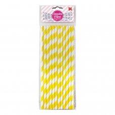 Canudo de Papel Listrado Amarelo 6mmx20cm 4310 com 12 Unidades Make+