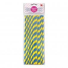 Canudo de Papel Listrado Amarelo e  Azul 6mmx20cm 4304 com 12 Unidades Make+