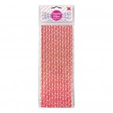 Canudo de Papel Rosa e Branco Bolinhas 6mmx20cm 4344 com 12 Unidades Make+