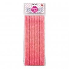 Canudo de Papel Rosa e Branco Bolinhas Poá 6mmx20cm 4341 com 12 Unidades Make+