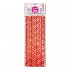 Canudo de Papel Vermelho e Branco Bolinhas 6mmx20cm 4345 com 12 Unidades Make+