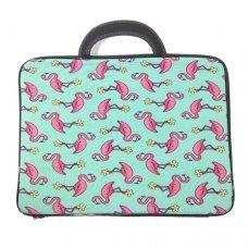 Capa para Notebook 14 polegadas com Estampa de Flamingo com Fundo Azul