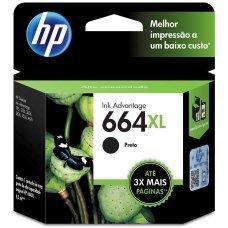 Cartucho HP 664XL Preto Original 8,5 ml F6v31AB - DeskJet Ink Advantage - 1115 2136 3636 3836 4536 4676