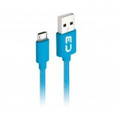 Cabo de Celular Micro USB V8 1m 2.0a Azul CB M11BLX C3 Plus