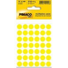 Etiqueta Adesiva Ø 12mm Amarelo TP-12 5 Folhas Pimaco