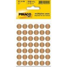 Etiqueta Adesiva Ø 12mm Ouro TP-12 5 Folhas Pimaco