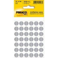 Etiqueta Adesiva Ø 12mm Prata TP-12 5 Folhas Pimaco