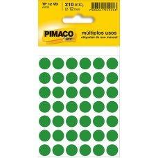 Etiqueta Adesiva Ø 12mm Verde TP-12 5 Folhas Pimaco