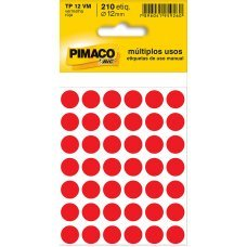 Etiqueta Adesiva Ø 12mm Vermelho TP-12 5 Folhas Pimaco