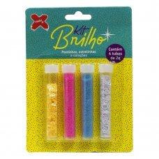 Glitter Kit Brilho Neon Estrelinha e Coração 4 Tubos de 2g 7035 Make+