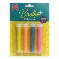 Glitter Kit Brilho Neon Poliéster 4 Tubos de 2g 7034 Make+