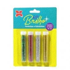 Glitter Kit Brilho Poliéster 4 Tubos de 2g com Estrelas 7036 Make+