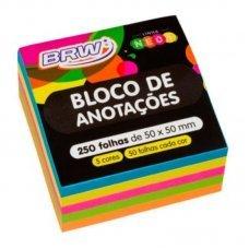 Bloco Post it 50x50mm Colorido BA5050 250fls BRW