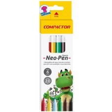 Caneta Hidrográfica 6 Cores Neo Pen Gigante Compactor