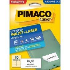 Etiqueta Adesiva Pimaco Inkjet + Laser Papel A5 12 Folhas com 120 Etiquetas - A5Q3465