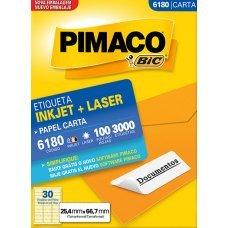 Etiqueta Adesiva Pimaco Inkjet + Laser Papel Carta 100 Folhas com 3000 Etiquetas - 6180
