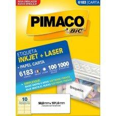 Etiqueta Adesiva Pimaco Inkjet + Laser Papel Carta 100 Folhas com 1000 Etiquetas - 6183
