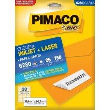 Etiqueta Adesiva Pimaco Inkjet + Laser Papel Carta 25 Folhas com 750 Etiquetas - 6280
