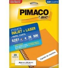 Etiqueta Adesiva Pimaco Inkjet + Laser Papel Carta 25 Folhas com 500 Etiquetas - 6281