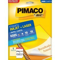 Etiqueta Adesiva Pimaco Inkjet + Laser Papel Carta 10 Folhas com 10 Etiquetas - 6085