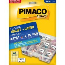Etiqueta Adesiva Pimaco Inkjet + Laser Papel A4 25 Folhas com 1625 Etiquetas - A4251