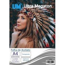 Folha de Acetato Transparente Jato de Tinta A4 10 Folhas Ultra Megaton