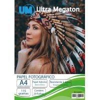 Papel Fotográfico Glossy Adesivo A4 115G 20 Folhas Ultra Megaton