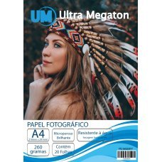 Papel Fotográfico Microporoso Brilho A4 260G 20 Folhas Ultra Megaton