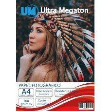 Papel Fotográfico Matte Adesivo A4 108G 20 Folhas Ultra Megaton