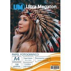 Papel Fotográfico Matte Fosco A4 108G 100 Folhas Ultra Megaton