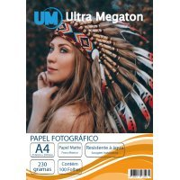 Papel Fotográfico Matte Fosco A4 230G 100 Folhas Ultra Megaton