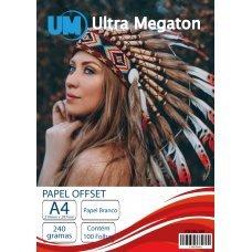 Papel Offset A4 240G Branco 100 Folhas Ultra Megaton