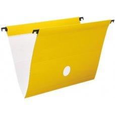 Pasta Suspensa Delloplus com Haste e Grampos de Plástico Amarelo - 1 Unidade