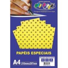 Papel Bolinha Metalizado Amarelo A4 120g 10 Folhas Off Paper