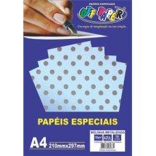 Papel Bolinha Metalizado Azul A4 120g 10 Folhas Off Paper