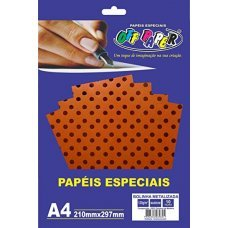 Papel Bolinha Metalizado Marrom A4 120g 10 Folhas Off Paper