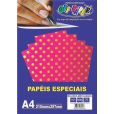 Papel Bolinha Metalizado Rosa A4 120g 10 Folhas Off Paper