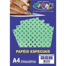 Papel Bolinha Metalizado Verde A4 120g 10 Folhas Off Paper