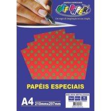Papel Bolinha Metalizado Vermelho A4 120g 10 Folhas Off Paper