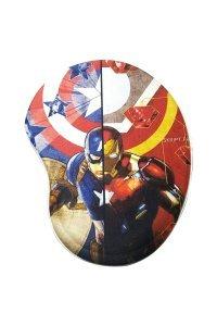 Mouse Pad com Apoio Ergonômico Capitão América e Homem de Ferro